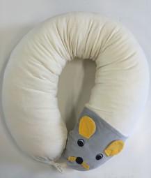 Ersatzbezug Stillkissen Mausi Maus mit Nestverknüpfung und Wendetasche, natur, 190 cm