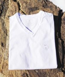 T-Shirt, V-Ausschnitt, weiss