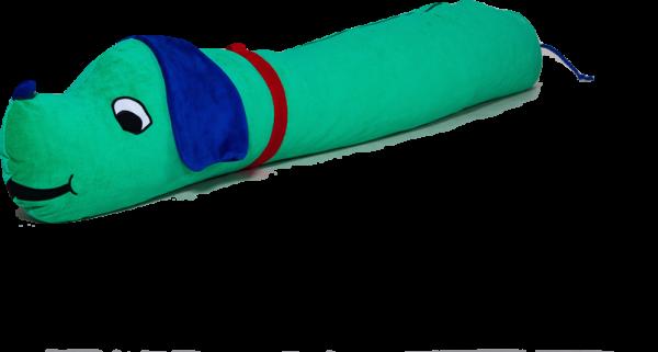 Ersatzbezug Kinderseitenschläferkissen Hanno Hund, grün, 140 x 35 cm