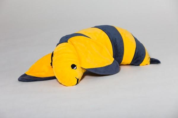 Schlafhörnchen Bini Biene, gelb/anthrazit, 60 x 30 cm + 1 Tommschi Märchenbuch