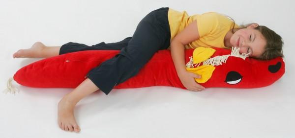Kinderseitenschläferkissen Ferdi Pferd, rot, 140 x 35 cm + 1 Tommschi Märchenbuch