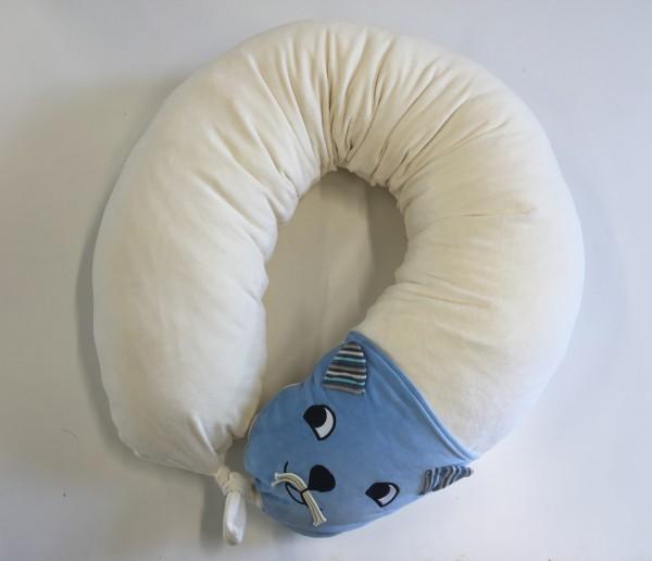 Ersatzbezug Stillkissen Katti Katze hellblau mit Nestverknüpfung und Wendetasche, natur, 190cm